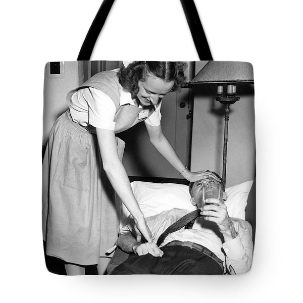 Red Cross Nurse With Patient Tote Bag