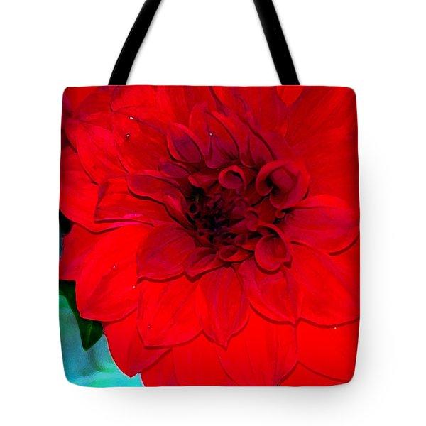 Red Dahlia Tote Bag by Lehua Pekelo-Stearns