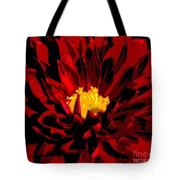 Tote Bag featuring the photograph Red Dahlia Abstract by Olivia Hardwicke