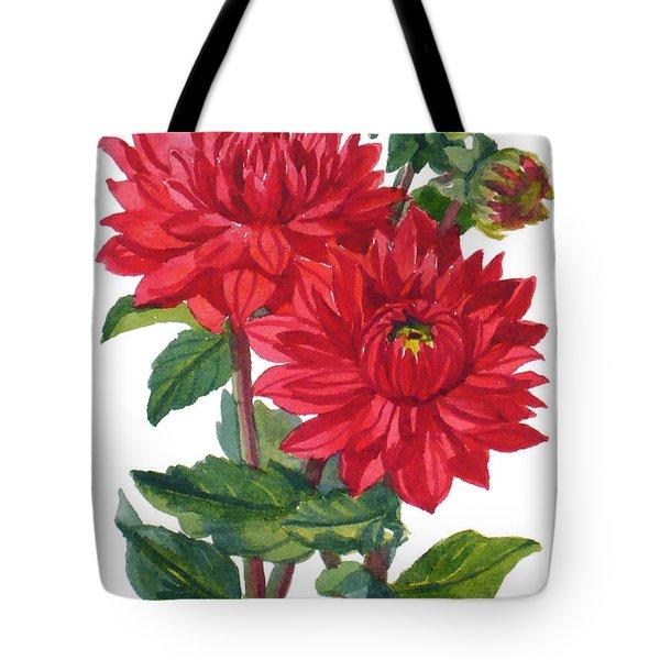 Red Dahlias Tote Bag