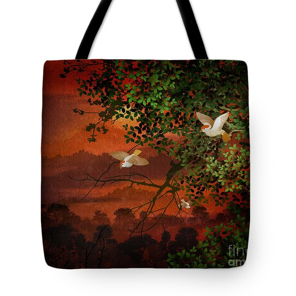 Red Dawn Sparrows Tote Bag
