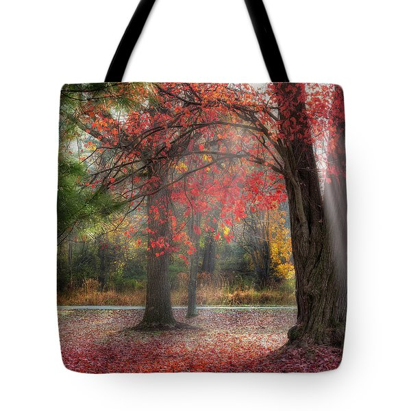 Red Dawn Square Tote Bag