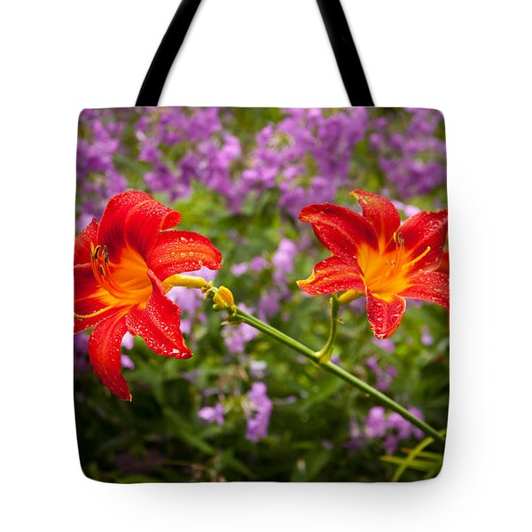 Red Daylilies Tote Bag by Lena Auxier