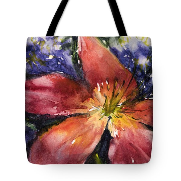 Red Daylily Tote Bag by Judith Levins