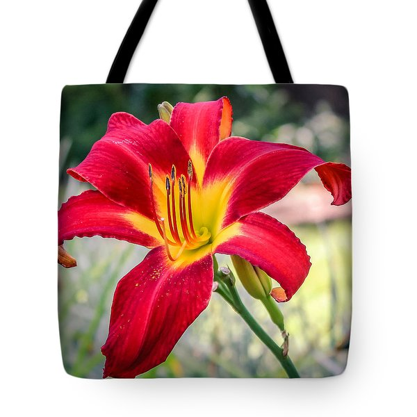 Tote Bag featuring the photograph Red Daylily by Rob Sellers