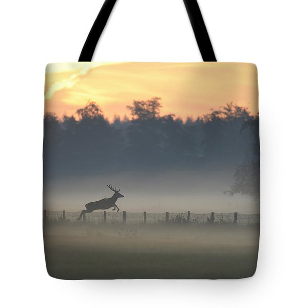 Red Deer Stag Jumping Fence Tote Bag