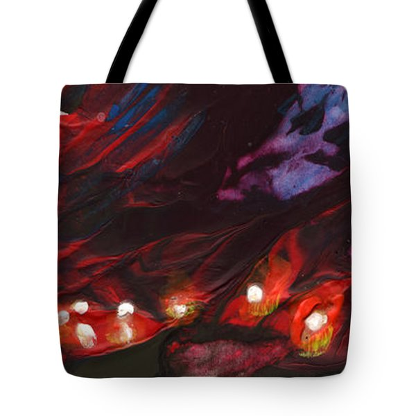 Red Demon With Pearls Tote Bag by Miki De Goodaboom