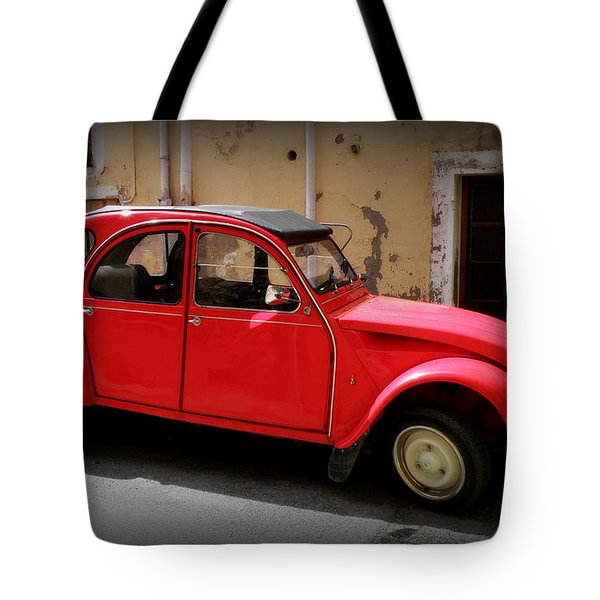 Red Deux Chevaux Tote Bag by Lainie Wrightson