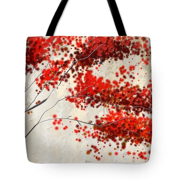 Red Divine- Autumn Impressionist Tote Bag