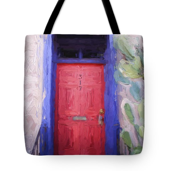 Red Door 317 Tucson Barrio Painterly Effect Tote Bag
