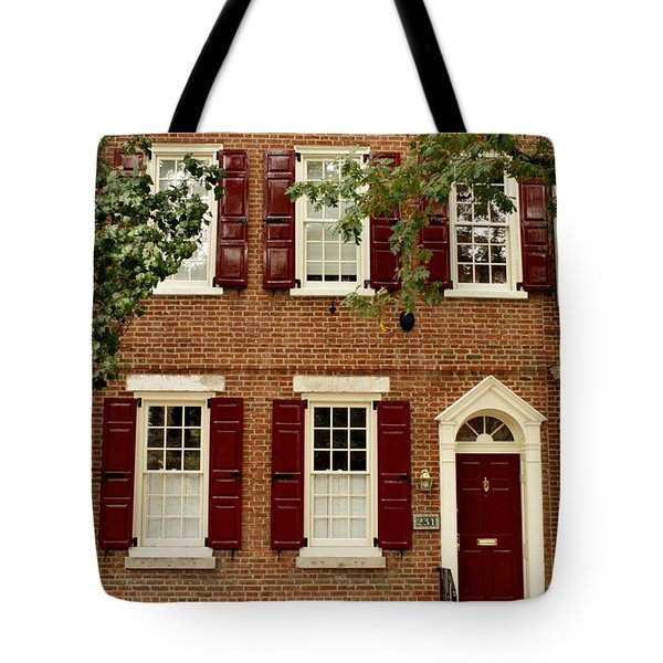 Red Door And Shutters Tote Bag by Christopher Woods