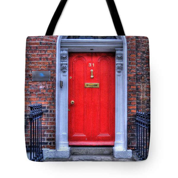 Red Door Dublin Ireland Tote Bag by Juli Scalzi