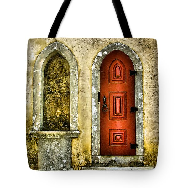 Tote Bag featuring the photograph Red Door Of The Medieval Castle Of Sintra by David Letts