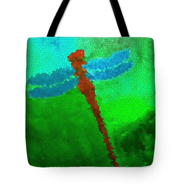 Red Dragonfly Tote Bag by Anita Lewis