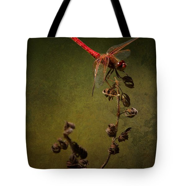 Red Dragonfly On A Dead Plant Tote Bag