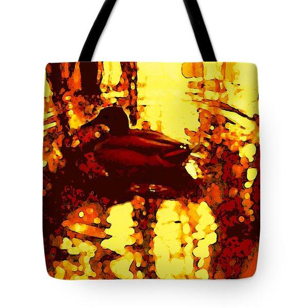 Red Duck Lake 6 Tote Bag by Amy Vangsgard