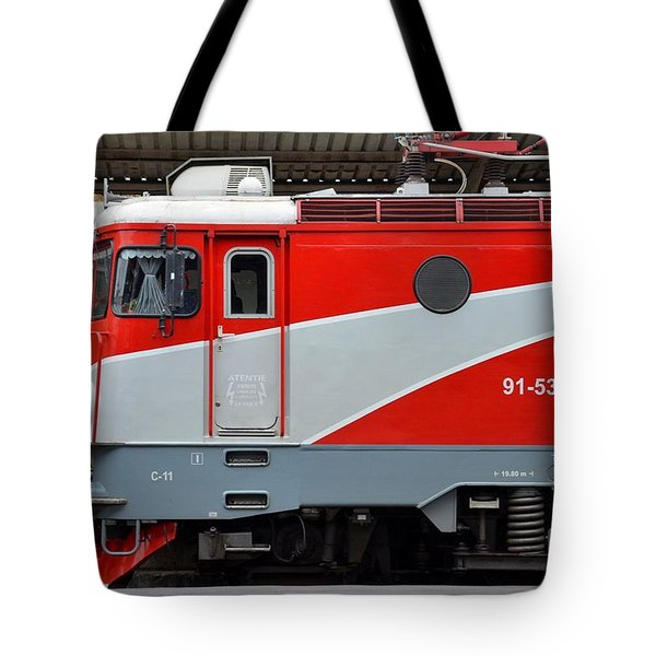 Tote Bag featuring the photograph Red Electric Train Locomotive Bucharest Romania by Imran Ahmed