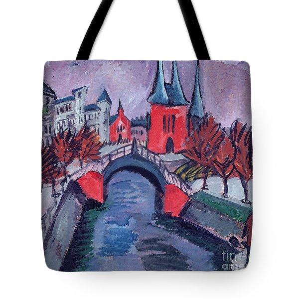Red Elisabeth Riverbank Berlin Tote Bag by Ernst Ludwig Kirchner