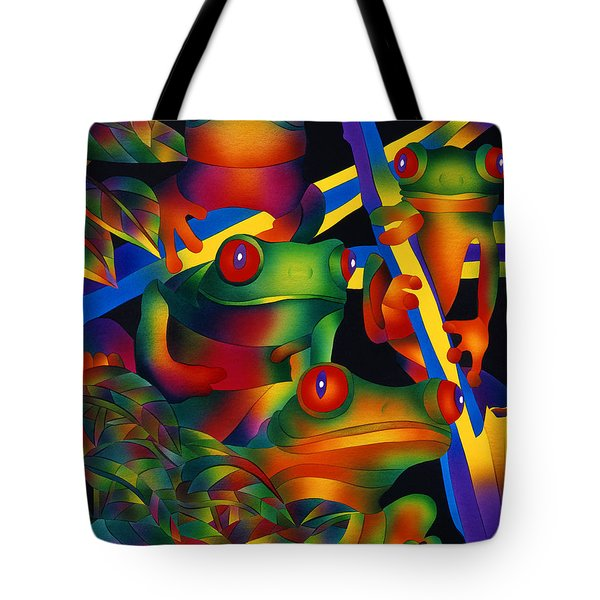 Red Eyed Frogs Tote Bag by Julianne  Ososke