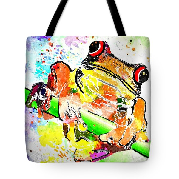 Red Eyed Tree Frog Grunge Tote Bag by Daniel Janda