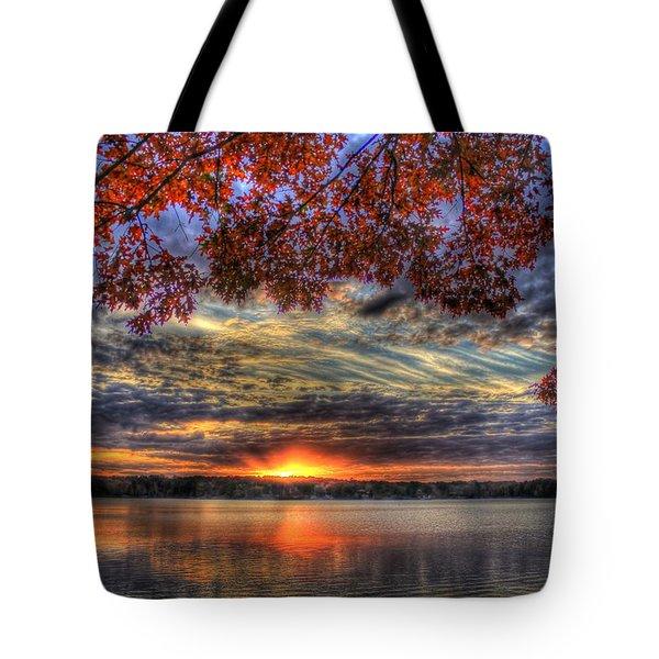 Good Bye Until Tomorrow Fall Leaves Sunset Lake Oconee Georgia Tote Bag