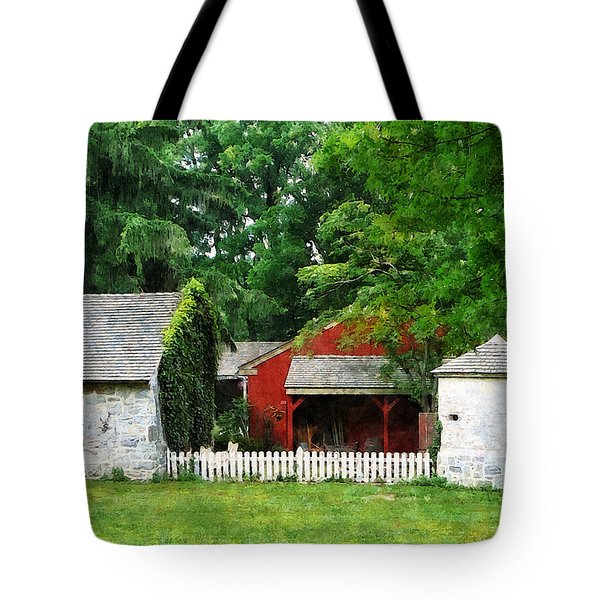 Red Farm Shed Tote Bag by Susan Savad