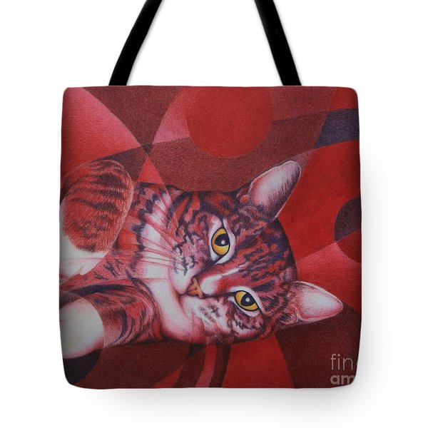 Tote Bag featuring the painting Red Feline Geometry by Pamela Clements