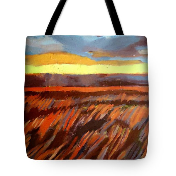 Tote Bag featuring the painting Red Field by Helena Wierzbicki