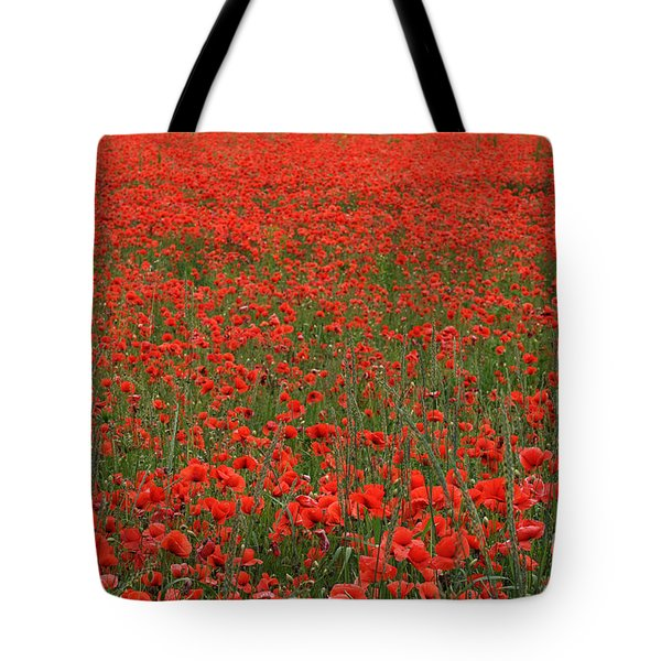 Red Field Tote Bag by Simona Ghidini