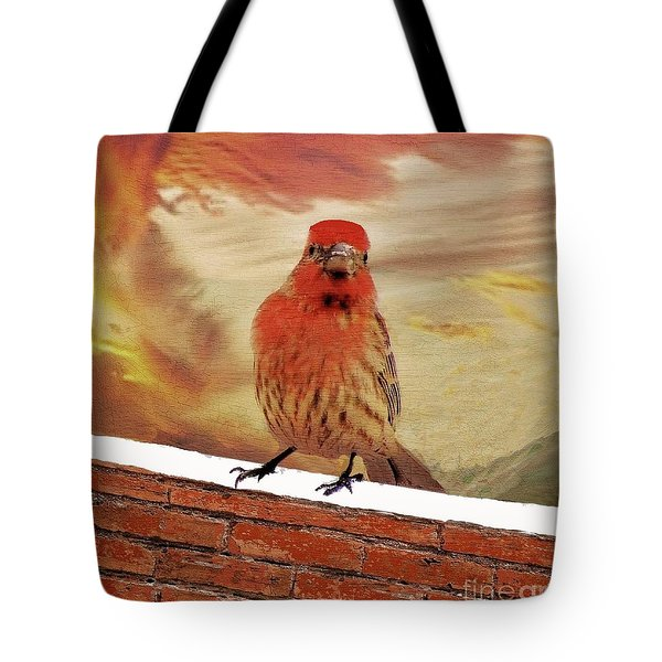 Red Finch On Red Brick Tote Bag