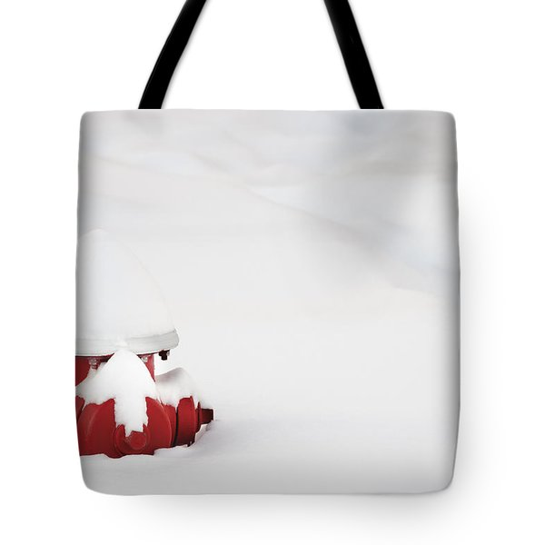 Red Fired Hydrant Buried In The Snow. Tote Bag by Oscar Gutierrez