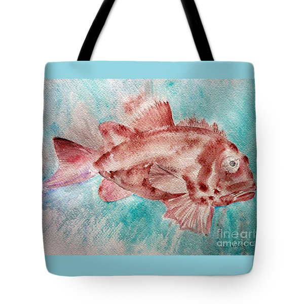 Tote Bag featuring the painting Red Fish by Jasna Dragun