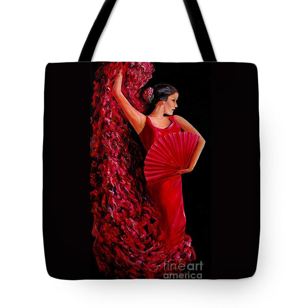 Red Flamenco Dancer Tote Bag