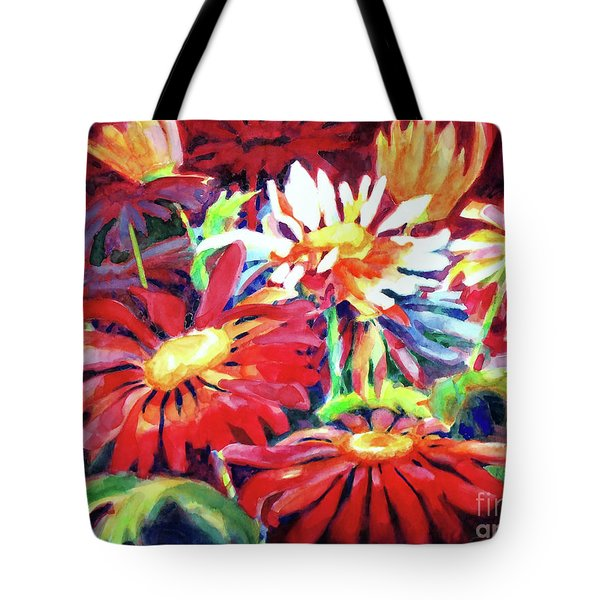 Red Floral Mishmash Tote Bag by Kathy Braud