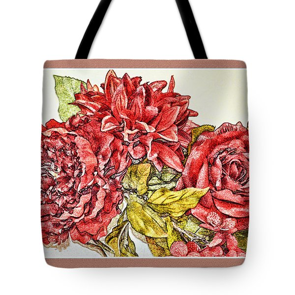 Red Floral Photoart Tote Bag by Debbie Portwood