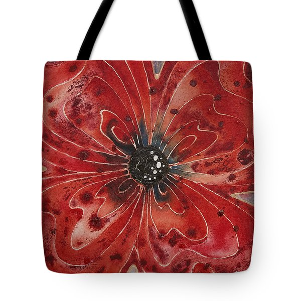 Red Flower 1 - Vibrant Red Floral Art Tote Bag by Sharon Cummings