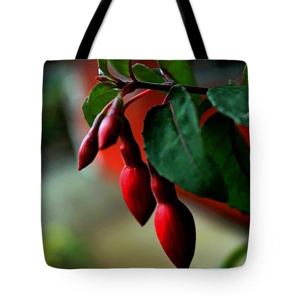 Red Flower Buds Tote Bag by Pamela Walton