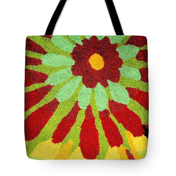 Tote Bag featuring the photograph Red Flower Rug by Janette Boyd
