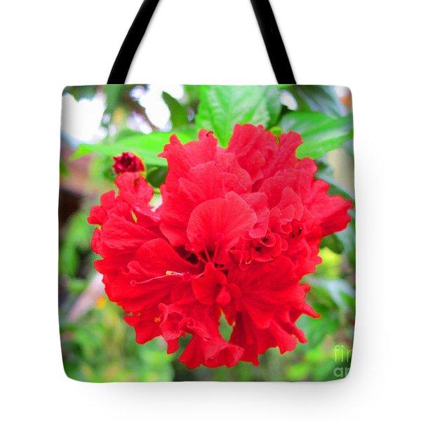 Red Flower Tote Bag by Sergey Lukashin