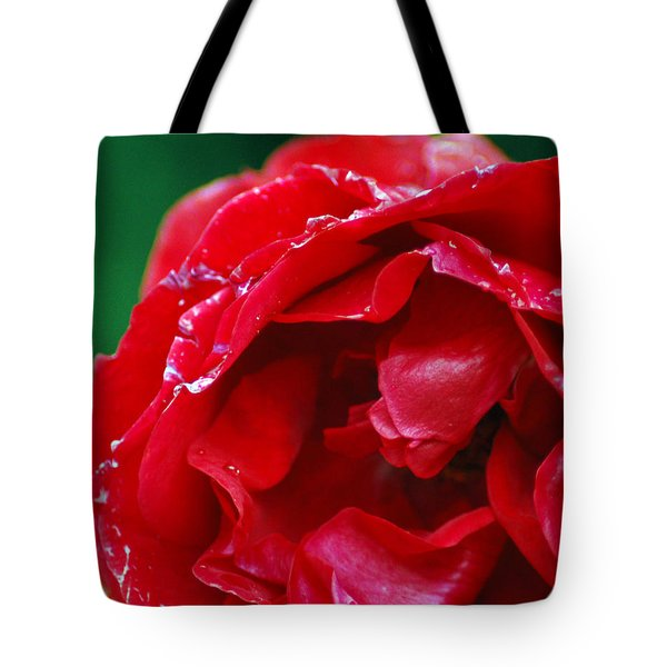 Tote Bag featuring the photograph Red Flower Wet by Matt Harang