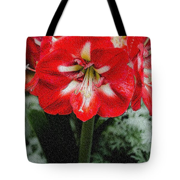 Red Flower With Starburst Tote Bag by Crystal Wightman