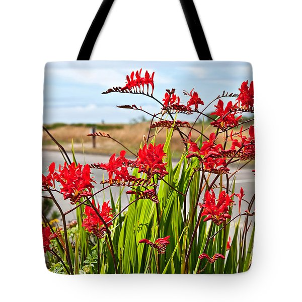 Red Flowers Crocosmia Lucifer Montbretia Plant Art Prints Tote Bag