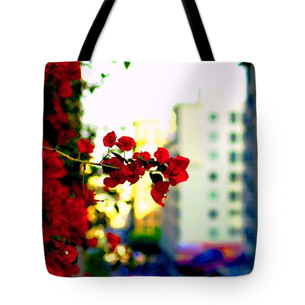 Tote Bag featuring the photograph Red Flowers Downtown by Matt Harang