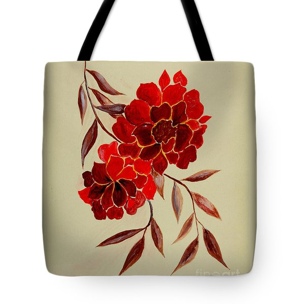 Red Flowers - Painting Tote Bag