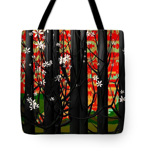 Red Forest Tote Bag by GuoJun Pan