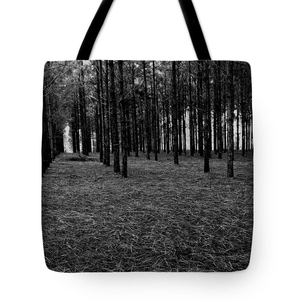Red Forest In Black And White Tote Bag