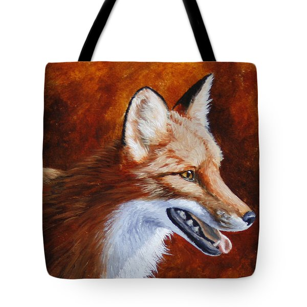 Red Fox - A Warm Day Tote Bag by Crista Forest