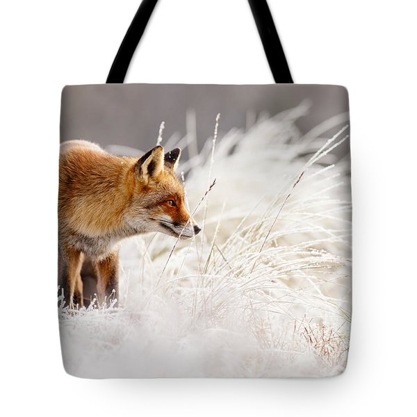 Red Fox And Hoar Frost _ The Catcher In The Rime Tote Bag by Roeselien Raimond