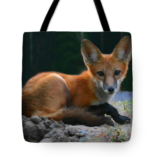 Red Fox Tote Bag by Kristin Elmquist
