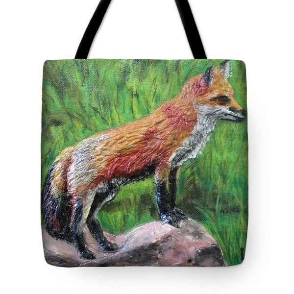 Red Fox Tote Bag by Lorrie T Dunks